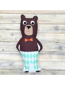 Интерьерная подушка ручной работы, Funky Bear 25 х 50 см