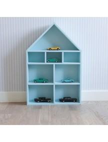 Полка-домик для игрушек с лестницей и без (голубой)