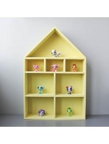 Полка-домик для игрушек с лестницей и без (желтый)