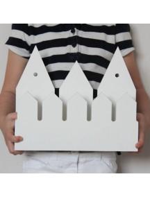 Полка домик с крючками Rotterdam (3 маленьких белых домика)