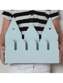 Полка домик с крючками Rotterdam (3 маленьких голубых домика)