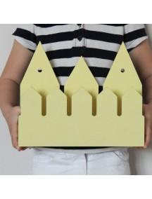 Полка домик с крючками Rotterdam (3 маленьких желтых домика)
