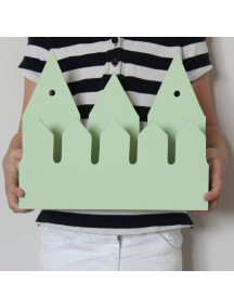 Полка домик с крючками Rotterdam (3 маленьких зеленых домика)