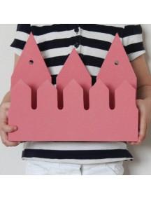 Полка домик с крючками Rotterdam (3 маленьких розовых домика)