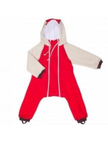 Комбинезон с клапаном на молниях с капюшоном и подкладом, Красный (Бамбинизон)