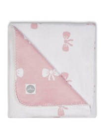 Байковый плед Jollein 75х100 см, цвет розовые бантики