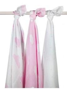 Комплект многоцелевых пеленок (муслин) Jollein 115х115 см, 3 шт, Розовые облака