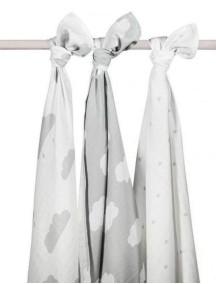 Комплект многоцелевых пеленок (муслин) Jollein 115х115 см, 3 шт, Серые облака