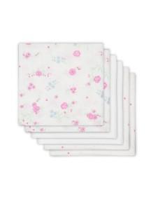 Комплект многоцелевых пеленок (муслин) Jollein 70х70 см, 6 шт, Розовые Цветы