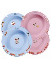 Philips AVENT Глубокие тарелки 230 мл. и 450 мл, 6м+, голубая и розовая (Филипс Авент)