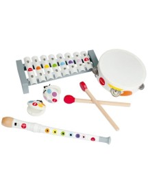 Набор музыкальных инструментов,белый (металлофон, флейта, бубен, кастаньеты) Janod (Франция)