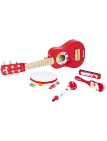 Набор музыкальных инструментов,красный (гитара, бубен, губная гармошка, дудочка, трещотка) Janod (Франция)