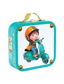 """Набор пазлов в квадратном чемоданчике """"На скутере"""" (4 пазла по 6, 9, 12, 16 деталей) Janod (Франция)"""