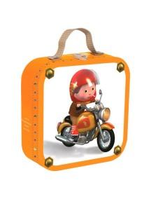 """Набор пазлов в квадратном чемоданчике """"Мотогонщик"""" (4 пазла по 6, 9, 12, 16 деталей) Janod (Франция)"""