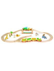 """Игровой набор """"Сафари"""" (12 игрушек, поезд, ж/д 17 эл.) Janod (Франция)"""