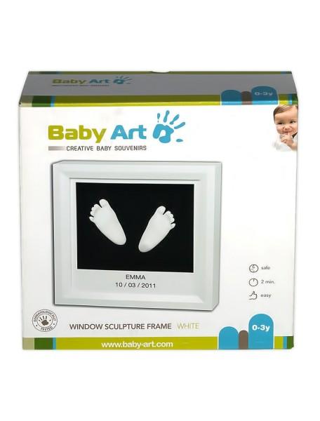 Рамочка с объем. слепками (белая)  Baby Art