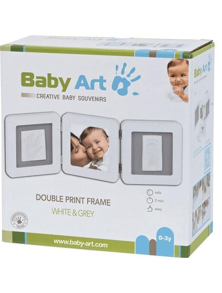 Рамочка тройная (белая), подложка серая Baby Art