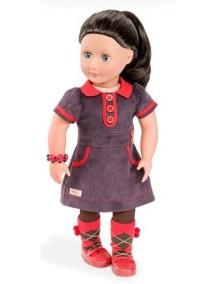 Одежда для куклы 46см (Вельветовое платье, браслет, колготки, носочки, туфли) Our Generation
