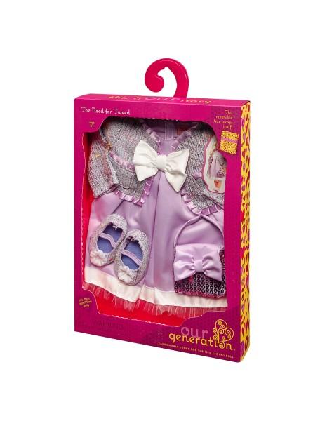 Одежда делюкс для куклы 46 см (Атласное платье, кофточка, сумочка, туфли) Our Generation