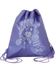 Детский Мешок для обуви De Lune S-02-фиолетовый с белыми цветами