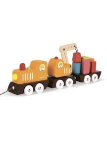 """Каталка на веревочке """"Поезд с краном и цветными фигурами"""" Janod (Франция)"""