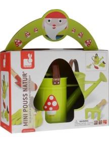 """Набор """"Маленький садовник"""", зеленый (лейка, перчатки, лопатка, грабельки) Janod (Франция)"""