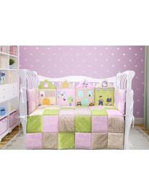 Комплект ЛДР004 - 4 бортика, одеяло, пододеяльник, простынка на резинке, наволочка / Лапуляндия