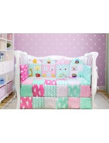 Комплект ЛДП007 - 4 бортика, одеяло, пододеяльник, простынка на резинке, наволочка / Лапуляндия