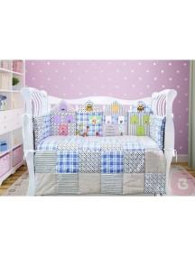 Комплект ЛДР001 - 4 бортика, одеяло, пододеяльник, простынка на резинке, наволочка / Лапуляндия