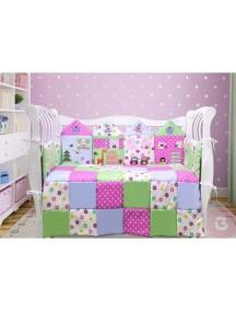 Комплект ЛДР002 - 4 бортика, одеяло, пододеяльник, простынка на резинке, наволочка / Лапуляндия
