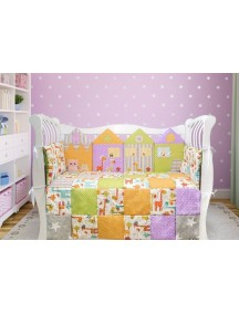 Комплект ЛДР003 - 4 бортика, одеяло, пододеяльник, простынка на резинке, наволочка / Лапуляндия