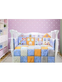 Комплект ЛДР006 - 4 бортика, одеяло, пододеяльник, простынка на резинке, наволочка / Лапуляндия