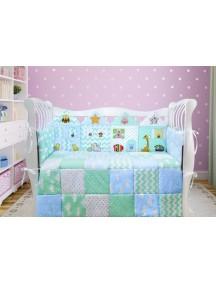 Комплект ЛДП010 - 4 бортика, одеяло, пододеяльник, простынка на резинке, наволочка / Лапуляндия