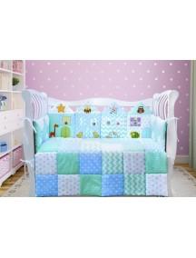 Комплект ЛДП011 - 4 бортика, одеяло, пододеяльник, простынка на резинке, наволочка / Лапуляндия