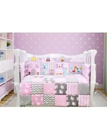 Комплект ЛДП012 - 4 бортика, одеяло, пододеяльник, простынка на резинке, наволочка / Лапуляндия