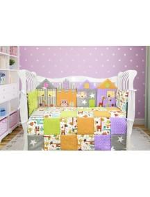 Комплект ЛДП013 - 4 бортика, одеяло, пододеяльник, простынка на резинке, наволочка / Лапуляндия
