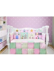 Комплект ЛДТ014 - 4 бортика, одеяло, пододеяльник, простынка на резинке, наволочка / Лапуляндия