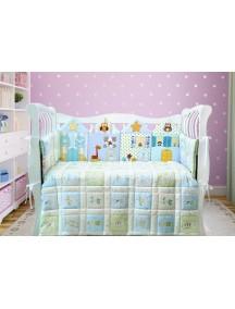 Комплект ЛДК015 - 4 бортика, одеяло, пододеяльник, простынка на резинке, наволочка / Лапуляндия