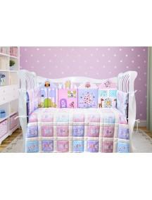Комплект ЛДК016 - 4 бортика, одеяло, пододеяльник, простынка на резинке, наволочка / Лапуляндия