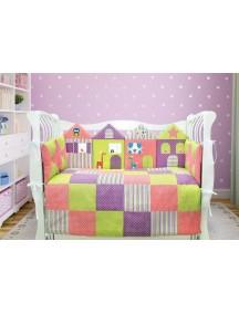 Комплект ЛДР026 - 4 бортика, одеяло, пододеяльник, простынка на резинке, наволочка / Лапуляндия