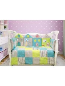 Комплект ЛДР028 - 4 бортика, одеяло, пододеяльник, простынка на резинке, наволочка / Лапуляндия
