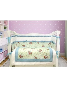 Комплект ЛДР029 - 4 бортика, одеяло, пододеяльник, простынка на резинке, наволочка / Лапуляндия