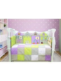 Комплект ЛДР038 - 4 бортика, одеяло, пододеяльник, простынка на резинке, наволочка / Лапуляндия
