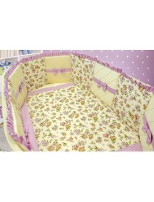 Комплект ЛДР041 - 4 бортика, одеяло, пододеяльник, простынка на резинке, наволочка / Лапуляндия