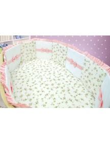 Комплект ЛДР042 - 4 бортика, одеяло, пододеяльник, простынка на резинке, наволочка / Лапуляндия