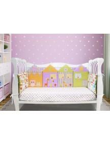 Бортики-домики в детскую кроватку ЛДР003 - 4 бортика / Лапуляндия