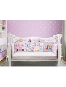 Бортики-домики в детскую кроватку ЛДП012 - 4 бортика / Лапуляндия