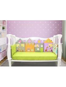 Бортики-домики в детскую кроватку ЛДП013 - 4 бортика / Лапуляндия