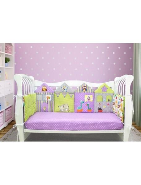 Бортики-домики в детскую кроватку ЛДР038 - 4 бортика / Лапуляндия
