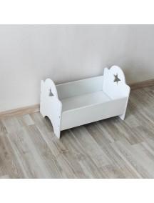 Кроватка для куклы белая со звездочкой ручной работы